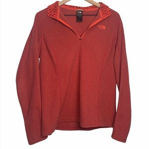 North Face Quarter Zip Red Orange Pullover Large